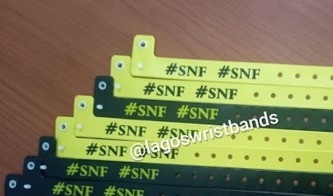 """Customized Plastic Wristbands for """"SNF PARTY"""""""